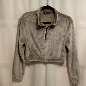 Shein fuzzy cropped quarter zip sweater